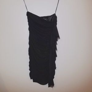 Express Dresses - Strapless black dress with ruffle detail